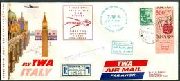 Israel LETTER FLIGHT EVENTS - 1957 FIRST TWA JETSTREAM FLIGHT LYDDA - ROME, REGISTERED, *** - Mint Condition - - FDC