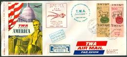 Israel LETTER FLIGHT EVENTS - 1957 FIRST TWA JETSTREAM FLIGHT LYDDA - NEW-YORK, REGISTERED, *** - Mint Condition - - FDC