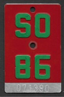 Velonummer Solothurn SO 86 - Number Plates
