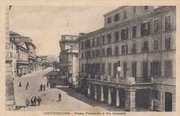 CIVITAVECCHIA-PIAZZA PLEBISCITO E VIA CANCELLA-CARTOLINA VIAGGIATA IL 21-8-1925 - Civitavecchia