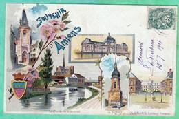 AMIENS - SOUVENIR D'AMIENS - CARTE MULTIVUES AVEC VIGNETTE DE L'EXPOSITION DE 1906 - 2 SCANS - Amiens