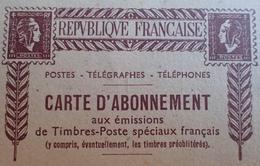 R1949//354 - 1945 - MARIANNE DE GANDON N°733 ☉ Sur CARTE D'ABONNEMENT AUX EMISSIONS DE TP SPECIAUX FRANCAIS - 1944-45 Marianna Di Dulac