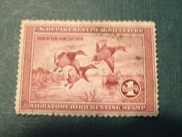 ETATS-UNIS Timbre Chasse - Timbres