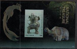 GUYANA, 2018, MNH, CHINESE NATIONAL TREASURES, YIN RUINS, ELEPHANTS, BIRDS, OWLS, S/SHEET - Art