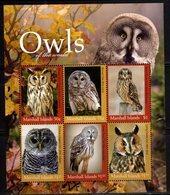 MARSHALL ISLANDS , 2018, MNH,  BIRDS, OWLS, SHEETLET, - Owls