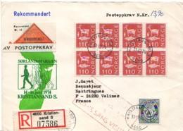 NORVEGE : 1974-1975 - Lettre Recommandée (remboursement) Pour La France - Norvège
