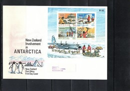 New Zealand 1984 Antarctica Research Block FDC - Forschungsstationen