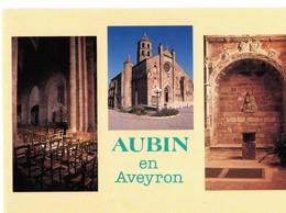 CPM, (12), AUBIN EN AVEYRON, Multivues, église, Jamais Voyagée - France