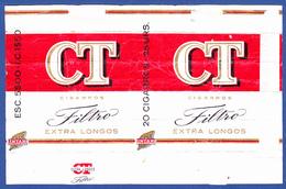 Portugal 1960 To 1970, Packet Of Cigarettes - CT Filtro / A Tabaqueira, Lisboa - Esc. 5$00 + 1$50 - Empty Tobacco Boxes