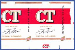 Portugal 1960 To 1970, Packet Of Cigarettes - CT Filtro / A Tabaqueira, Lisboa - Esc. 16$50 - Empty Tobacco Boxes