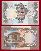 Pakistan P26a, 1 Rupee, Moon & Star Arms / Tomb Of Allama Mohammed Iqbal UNC - Pakistan