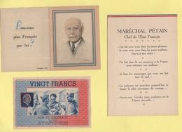 Marechal Petain - Lot De 10 Documents - Calendriers 1943 1944 Cartes Postales Carte De Voeux Et Divers - Voir Scan - Oude Documenten