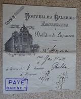 Facture Ancienne - Entête - Caisse - Nouvelles Galeries - Montpellier - Bulletin De Livraison - Francia