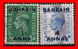 BAHRAIN ( ASIA ) 2 STAMPS 1950 SELLOS DE GRAN BRETAÑA SOBRECARGADOS. UNO DE ½ ANNA Y OTRO DE 4 ANNAS - Bahreïn (1965-...)