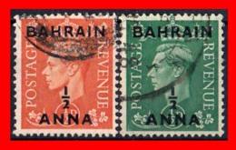 BAHRAIN ( ASIA ) 2 STAMPS 1950 SELLOS DE GRAN BRETAÑA SOBRECARGADOS. UNO DE ½ ANNA Y OTRO DE ½ ANNA - Bahreïn (1965-...)