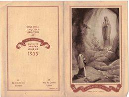 IMAGE PIEUSE RELIGIEUSE HOLY CARD Calendrier Almanach Religieux 1938 Lisieux Lourdes O Marie Reine Du Clergé - Calendarios