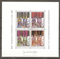 Autriche 2000 - Hommage à Friedrich Hundertwasser - BF 17 MNH - Blues En 4 Couleurs - Blokken & Velletjes