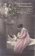 AK Morgen Kommt Der Weihnachtsmann - Mutter Mit Tochter Und Puppe - Engel Weihnachtsbaum - Feldpost 1914 (40286) - Noël