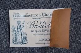 Carte De Visite : PARIS, LYON, Manufacture De Chemises BRONDEL Et Cie - Cartoncini Da Visita