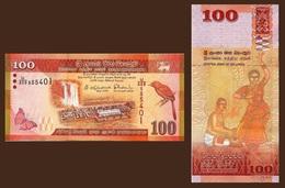 Sri Lanka P125 100 Rupee, Coal, Waterfall, Bird, Butterfly / Dancer, Drummer UNC - Sri Lanka