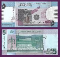 Sudan P72, 5 Pounds, Ornate Wall, Satellite / Hydro Dam, Solar W/M UNC SECURITY - Sudan