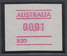 Australien Frama-ATM Mit Automatennummer B20, Besonderheit Weißes Papier ** - Vignette Di Affrancatura (ATM/Frama)