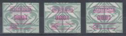 Australien Frama-ATM Emu Grün Je Eine ATM Mit Aut.-Nr. A20, B87 Und C4 ** - Vignette Di Affrancatura (ATM/Frama)