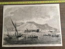 1866 GRAVURE EXPERIENCE DE TORPILLES VOLANTES DANS LA RADE DE TOULON FREGATE LE VAUBAN - Old Paper