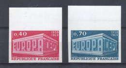 France N°1598 / 1599 Europa 1969 Non Dentelé ** MNH (Imperforate) - France