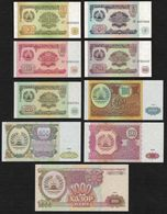 TAJIKISTAN - 1+5+10+20+50+100+200+500+1.000 Rubles 1994 UNC P.1+2+3+4+5+6+7+8+9 - Tayikistán