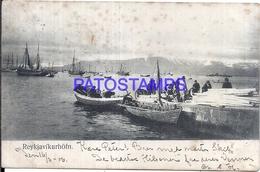 109594 ISLANDIA REIKIABIK PORT AND BOAT SPOTTED CIRCULATED TO DENMARK POSTAL POSTCARD - Islande