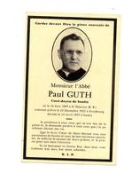 Soultz 68 Abbé Paul Guth Souvenir Décès - Old Paper