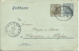 1906 Germania 2 + 3 Pf Nach Wangen  Zugstempel Lübeck-Lüneburg - Germania