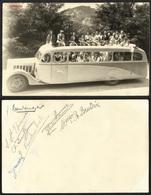 PHOTO  AUTOCAR S. L. A. LOURDES PELERINAGE EXCURSION BUS CAR---avec Signatures --verso - Lourdes