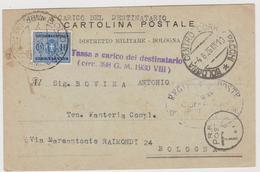 BOLOGNA  , Cartolina Distretto Militare  - F.p. - Anni '1930 - Bologna