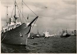 1942 BARCOS , TARJETA POSTAL CIRCULADA , PUERTO DE HAMBURGO - HAFEN - Schiffe
