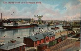 1912 BARCOS , TARJETA POSTAL CIRCULADA , KIEL , HANDELSHAFEN UND KRUPPSCHE WERTT - Schiffe