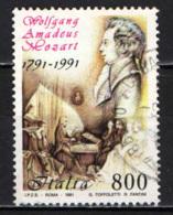 ITALIA - 1991 - 2° CENTENARIO DELLA MORTE DI WOLFGANG AMADEUS MOZART - USATO - 1991-00: Oblitérés
