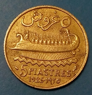 Lebanon - 5 Piastres - 1925 - KM 5.1 - AUNC - Agouz - Lebanon