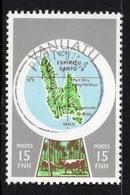 Timbre Oblitéré PORT VILA YT No. 585 Emis En 1980 VANUATU POSTES Valeur 15 FNH, Island ESPIRITU SANTO, Trees, Cows - Vanuatu (1980-...)
