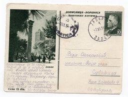 1954 YUGOSLAVIA, CROATIA, ZADAR, USED STATIONERY CARD - Postal Stationery