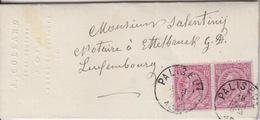 C Lettre Obl. Paliseul Le 18 Aout 1890 Sur 10c Rose/azuré X 2 = Tarif étranger Pour Ettelbruck - 1884-1891 Leopoldo II