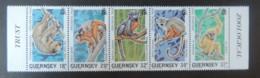 GUERNSEY 1989 ZOOLOGICAL TRUST SG469-473 MNH SET 5 VALUES ANIMALS APES SLOTH MONKEY TAMARIN GIBBON - Guernsey