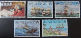 GUERNSEY 1990 250th ANNIVERSARY OF ANSONS CIRCUMNAVIGATION SG496-500 MNH SET 5 VALUES SAILING SHIPS - Guernsey