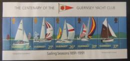 GUERNSEY 1991 YACHT CLUB CENTENARY MS529 MNH 5 VALUES SAILING SPORT - Guernsey