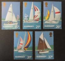 GUERNSEY 1991 YACHT CLUB CENTENARY SG524-528 MNH SET 5 VALUES SAILING SPORT - Guernsey