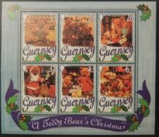 GUERNSEY 1997 CHRISTMAS TEDDY BEARS MINIATURE SHEET MS753 MNH 6 VALUES CHILDREN - Guernsey