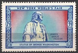 George Washington Sculpture Statue James Earle Fraser - 1939 New York World's Fair USA Charity Label Vignette Cinderella - George Washington