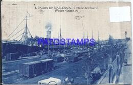 109711 SPAIN ESPAÑA PALMA DE MALLORCA DETALLE DEL PUERTO PORT VAPOR JAIME I SHIP & TRAIN TREN POSTAL POSTCARD - Ohne Zuordnung