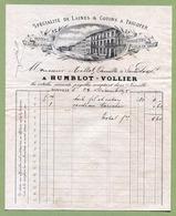 """JOINVILLE  (52) : """" MERCERIE BONNETERIE - HUMBLOT-VOLLIER """"  1895 - France"""